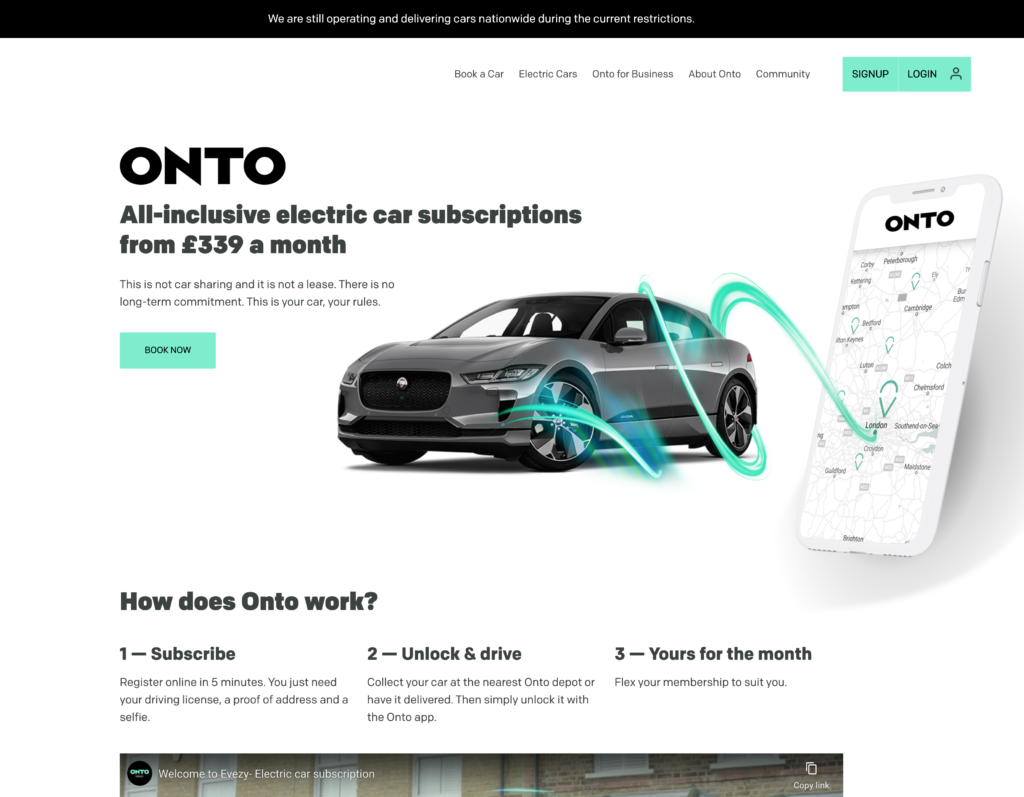 ONTO CAR SUBSCRIPTION WEBSITE